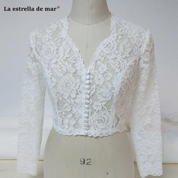 wedding cape new lace sexy V neck long sleeve high waist chaqueta corta para boda jacket wedding bolero cape mariage bridal cape