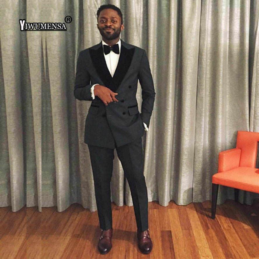 Yiwumensa мужской костюм из двух предметов, черный костюм для свадьбы, приталенный Свадебный костюм мужской смокинг для жениха, вечерние костюмы на выпускной, 2019