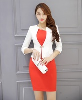 Formal Ladies Dress Suits For Women Business Suits With Dress And Jacket Sets White Work Wear