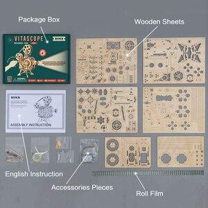 Image 5 - Robotime ROKR יד כננת מקרן קלאסי סרט Vitascope 3D עץ פאזל מודל בניין צעצועים לילדים למבוגרים LK601