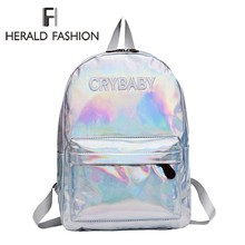 Herald Fashion Women Hologram Laser Backpack Hip hop Style Embroidery Letters Crybaby School Bags For Girls