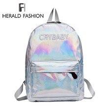 Herald Модные женские голограмма лазерный рюкзак хип-хоп стиль вышивка буквы Crybaby школьные сумки для девочек кожаная Студенческая сумка