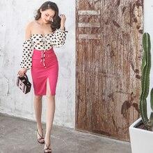 LNEOWN Sexy Vintage Polka Dot Summer Off Shoulder Jumpsuit Women Romper Elegant Cute