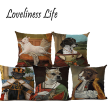 Retro Oil Painting Dog Drawing Linen Pillow Cushion Cover Home Dog Couch Decorative Pillow Case 45x45cm Almofadas Capa Cojines