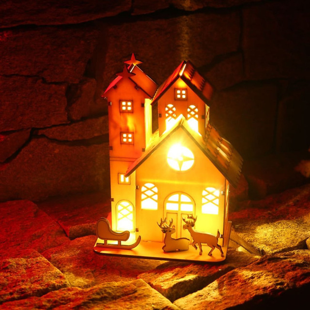 christmas led lighting wooden house elk xmas tree desktop hanging ornament scenery props christmas party decoration