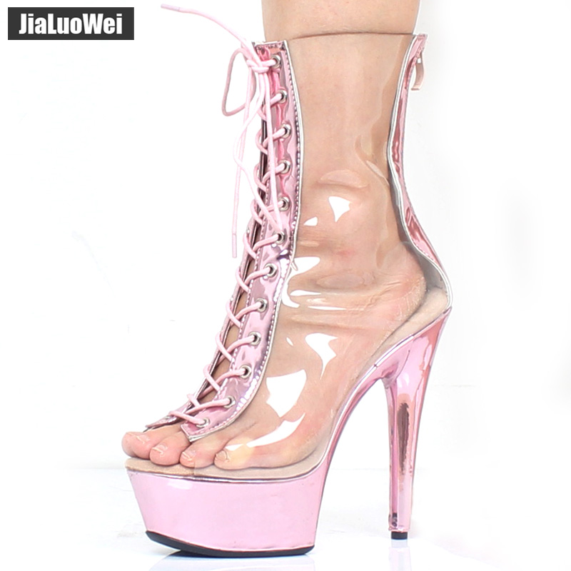 f1bc4a2b41 Jialuowei New Sexy Boots 15CM Extreme High Heel Clear Transparent Lace-up  Zip Peep Toe Platform ...