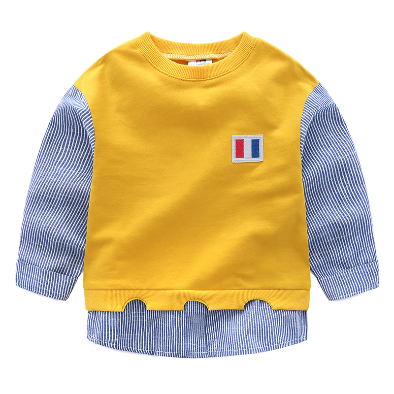 Child Boys Patchwork Long Sleeve Sweatshirt Spring Autumn Pullover Fashion Tops Hoodies Children Clothing стоимость