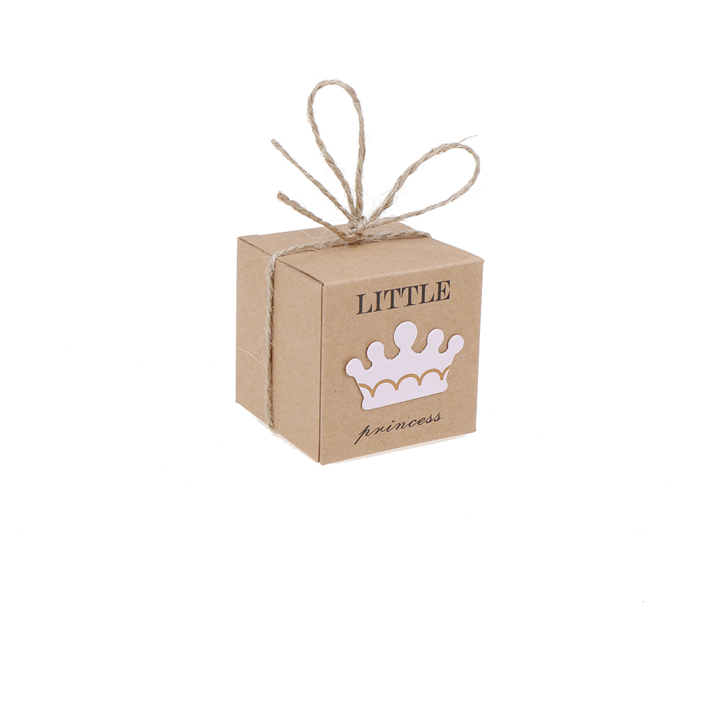 New 10Pcs Baby Shower Birthday Party Favors Candy Boxes With Crown And  Twine Little Prince Princess Brown Kraft Paper Gift Box