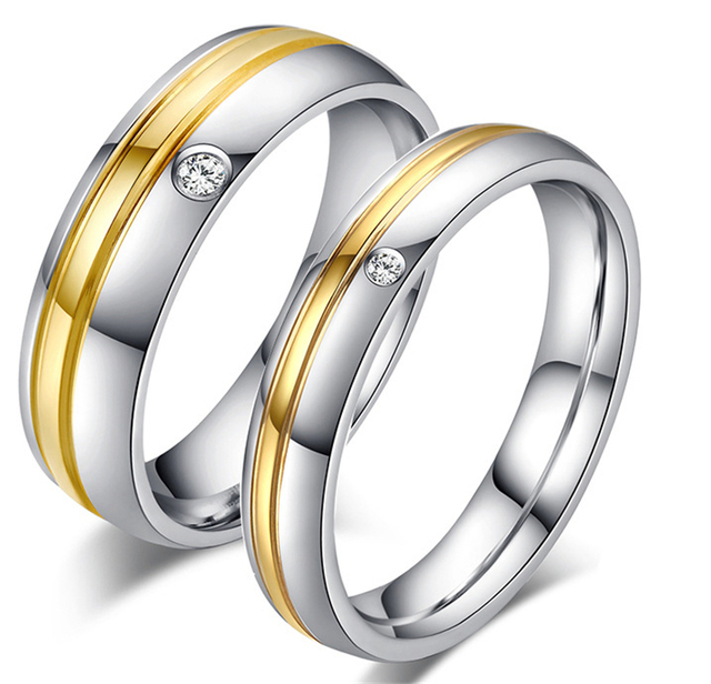 Fashion gold old Plated Wedding Rings With Stone Stainless Steel