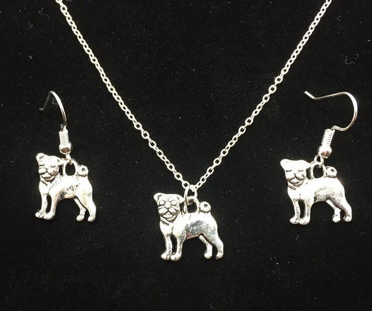 Hot Sale Jewelry Set Antique Silver Plated Bulldog Dog Dangle Earrings For Women Dogs Pendant Necklace Set Fashion Jewelry