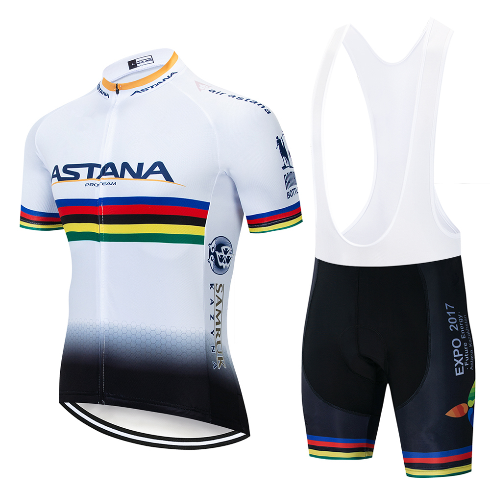 2019 TEAM ASTANA White Cycling Clothing Bike Jersey Ropa Mens Bicycle Summer Pro Cycling Jerseys Gel Pad Bike Shorts