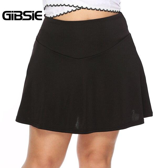 GIBSIE Plus Size Black Elegant Sexy Office Lady A Line Skirt Women 2019 Summer Casual High Waist Mini Skirts Female Big Size 5