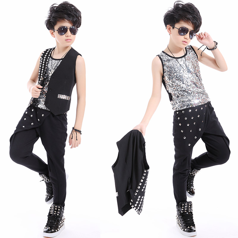 Jazz Boys Dance Costume Sequined Silver Vest Black Trousers Jacket Modern Kid Hip Hop Clothing Performance