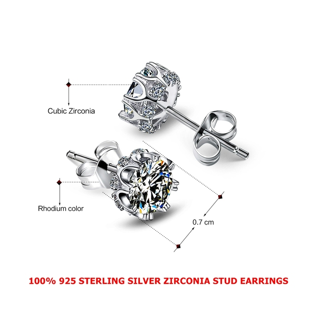 DreamCarnival 1989 Popular Style Shipped From United States Sterling Silver 925 High Quality White Zirconia Earrings SE10817R