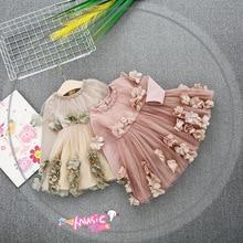 Spring Girls Princess Mesh Dress newborn Dress luxury Appliques Floral Design for Girls Clothes Party Dress 9-24 months
