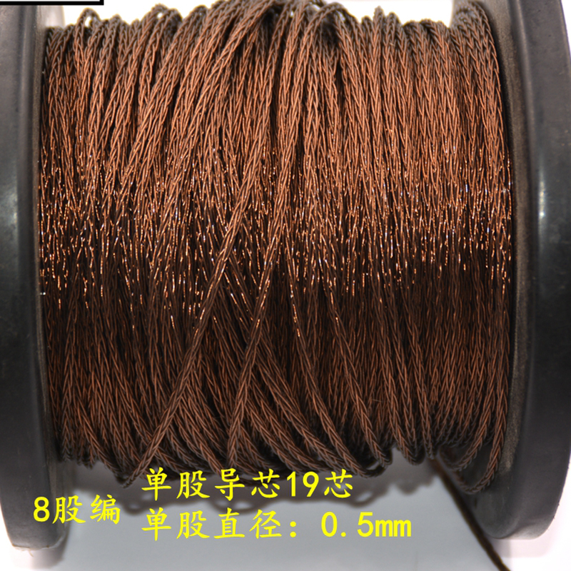 Diy earphone cable 8 shares round deep-coated Teflon 5N single crystal copper braided wire (19/30 core diameter 0.5/0.62mm) 100pcs 6n 4 round cable wire strain relief bush grommet 14mm diameter black