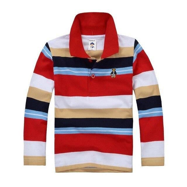 2016 новых осенью мальчик рубашки поло мальчик полосатые рубашки поло топы с длинным рукавом большой мальчик школьная форма рубашки поло детей одежда