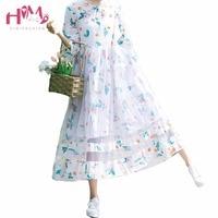 Summer Women Fashion Japanese Style Mori Girl Flower Print Fresh Grenadine Spliced Dress Loose Three Quarter