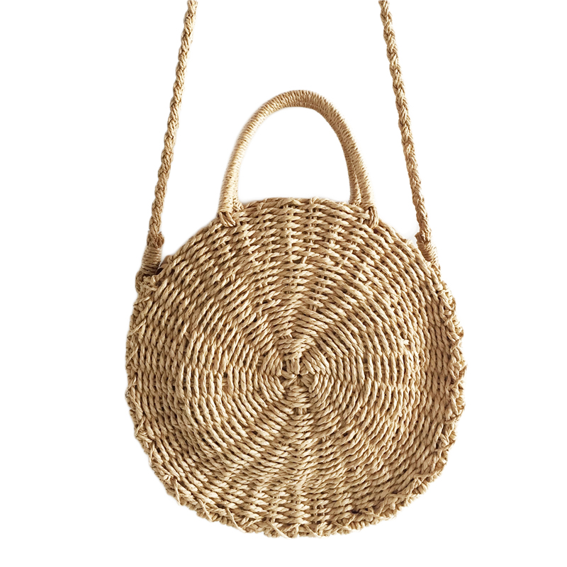 Women Woven Round Rattan Straw Bag Bali Bohemian Beach Circle Bag Circular Handbag Summer Handmade Retro Knitted Messenger Bags