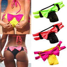 Women Sexy Swimsuit Bow Elastic Colorful Swimwear Brazilian Bikini Beach Wear Halter Thong Push Up Women Bathing Biquini Suit