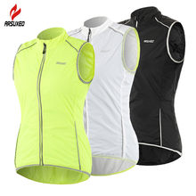 ARSUXEO 3 Colors Women's Reflective Cycling Vest Light Running Vest Bike Sports Windstoper Breathable Sleeveless Vest Reflection