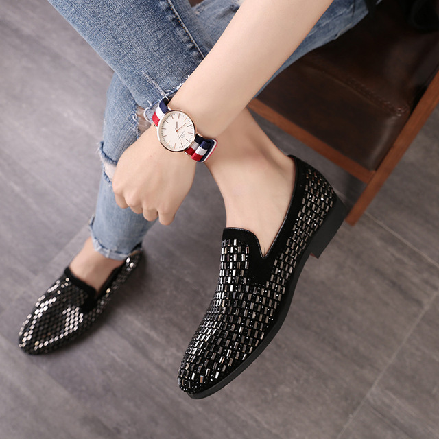 d88ac6e44cb M-anxiu Full Shining PVC Bricks Decoration Mens Formal Dress Shoes Soft  Sole Slip-on Loafers Big Size Party Casual Shoes 2018