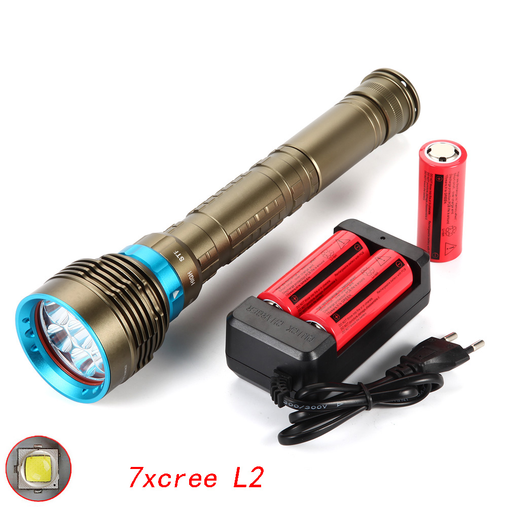 High Power Flashlights 7xCREE XM-L2 15000 lumen LED Hunting Flashlight Lamp Tactical Torch + 3x 26650 Battery+ EU Charger led tactical flashlight 501b cree xm l2 t6 torch hunting rifle light led night light lighting 18650 battery charger box