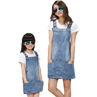 2015 Mother And Daughter Summer Clothes Family Clothing Set White Short Sleeve Letter T Shirt Blue