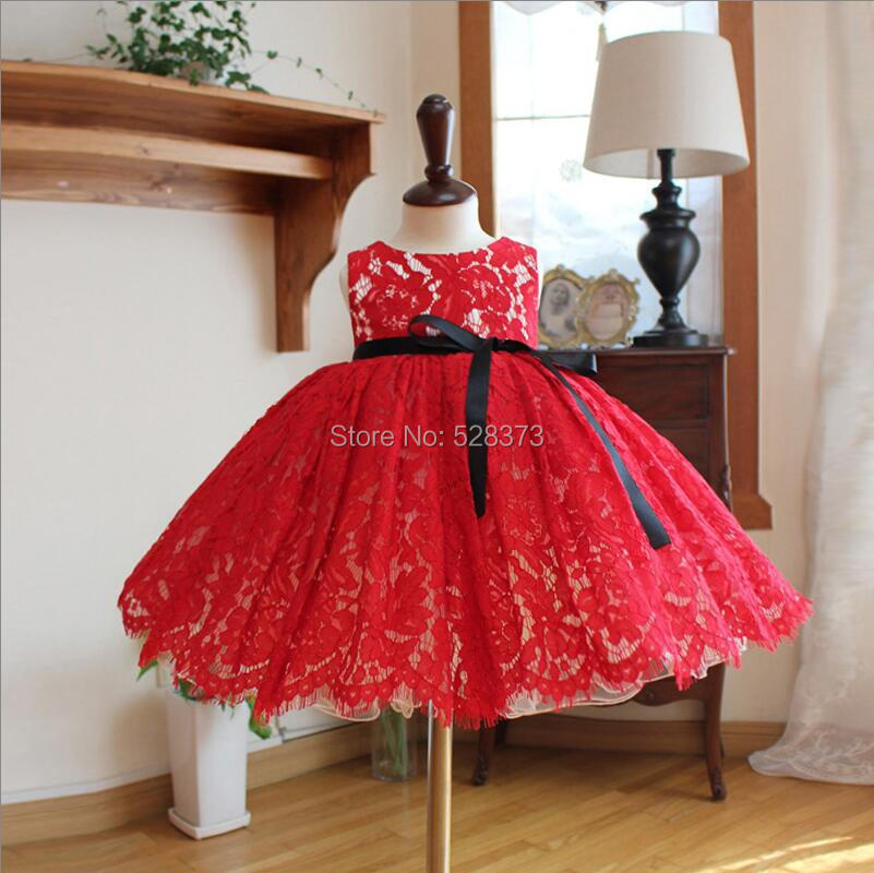 YNQNFS FG61 Real Puffy Ball Gown Princess Baby Kids Child Pageant Birthday Party Bridal Short Red and White   Flower     Girl     Dresses