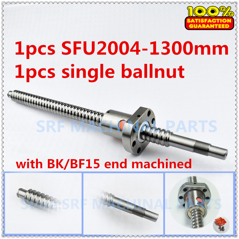 High quality 20mm 1pcs Rolled Ballscrew RM2004 L=1300mm +1pcs SFU2004 Flange Single Ballnut with BK/BF15 end machined High quality 20mm 1pcs Rolled Ballscrew RM2004 L=1300mm +1pcs SFU2004 Flange Single Ballnut with BK/BF15 end machined