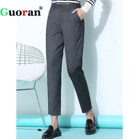 {Guoran} Office Work Suit Pants For Women 2017 Winter Black Grey Harem Trousers Plus Size 3xl Femme Pantalon Lady Formal Pants