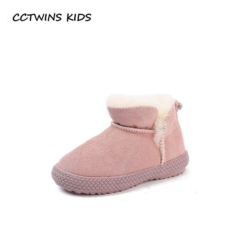 CCTWINS KIDS 2018 Winter Boy Fashion Ankle Boot Children Genuine Leather Shoe Baby Girl Black Snow Boot Toddler CS1643