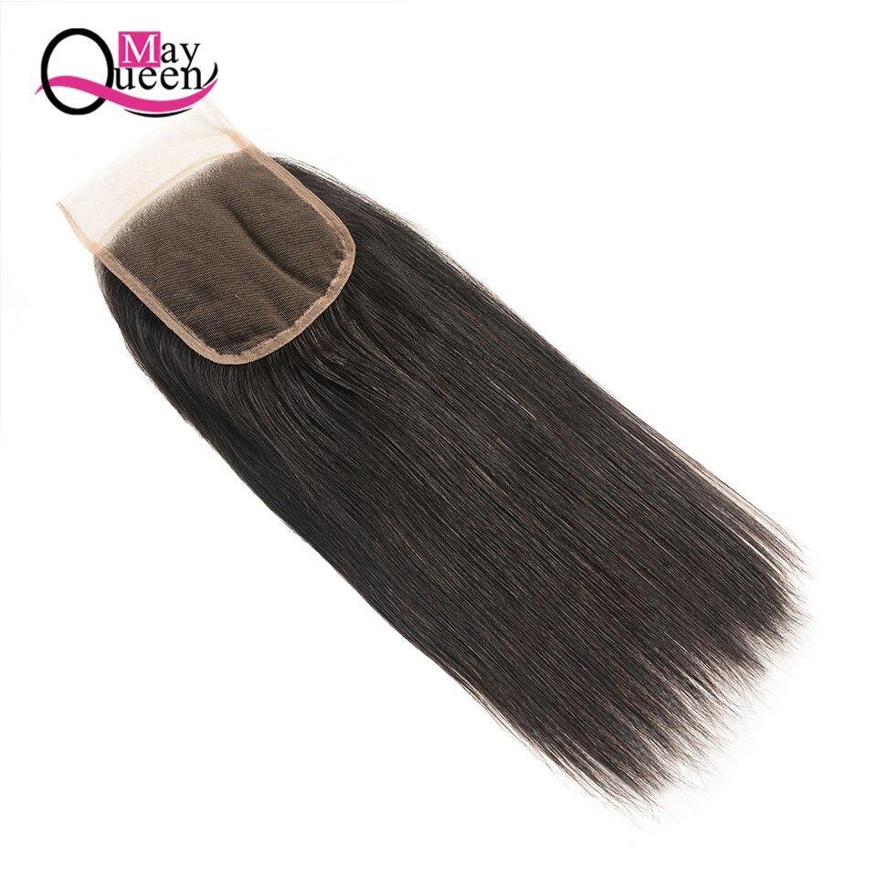 Может Queen Hair Бразильский прямые волосы ткань 3 Связки с Синтетическое закрытие шнурка волос свободная часть натуральный Цвет человека Химич...