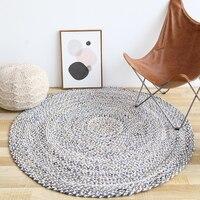 2018 Hot Sale Handwork Jute Carpet Round Floor Mat Sitting Room Bedroom Tea Table Study Sisal Rug Door Mat