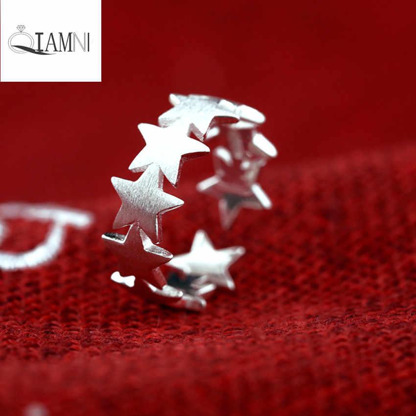 QIAMNI для рождественской вечеринки подарок 925 пробы серебро повезло Полный Звезда Регулируемые кольца для Для женщин Девушка Свадебные украшения Аксессуары