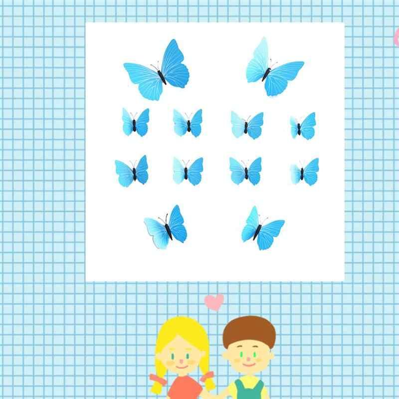 Фото 12 шт очаровательные украшения бабочки Летающие (синий)