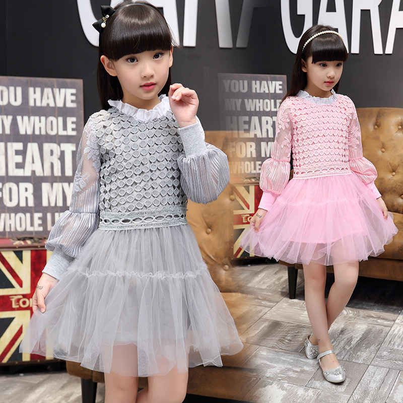 Spring Autumn New Pattern Girl Dress Princess Child Long Sleeve Children Dress Lace Korean Kids Clothing уличный настенный светильник favourite hunt арт 1847 1w