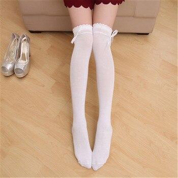 Fashion Newly Tie Bow Over The Knee Socks Japanese Kawaii Women's Stockings Thigh High Knee Socks Black White Grey Long Socks цена 2017