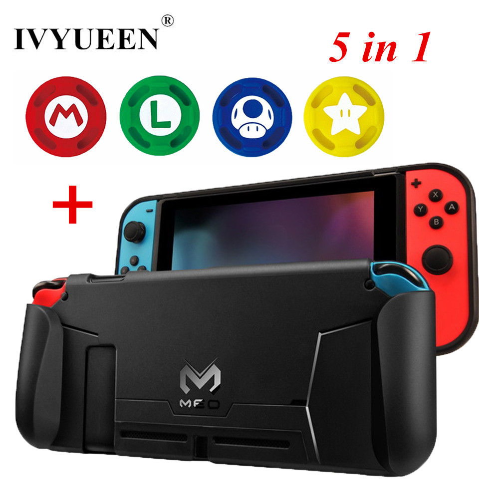 IVYUEEN 5 in 1 for Nintend Switch NS Console Handle Grip Protective Cover with 4 Thumb Stick Caps Case for Joy Con Controller ivyueen 2 pcs for joy con silicone joystick thumb stick grip cover case analog caps for nintend switch ns joy con controller