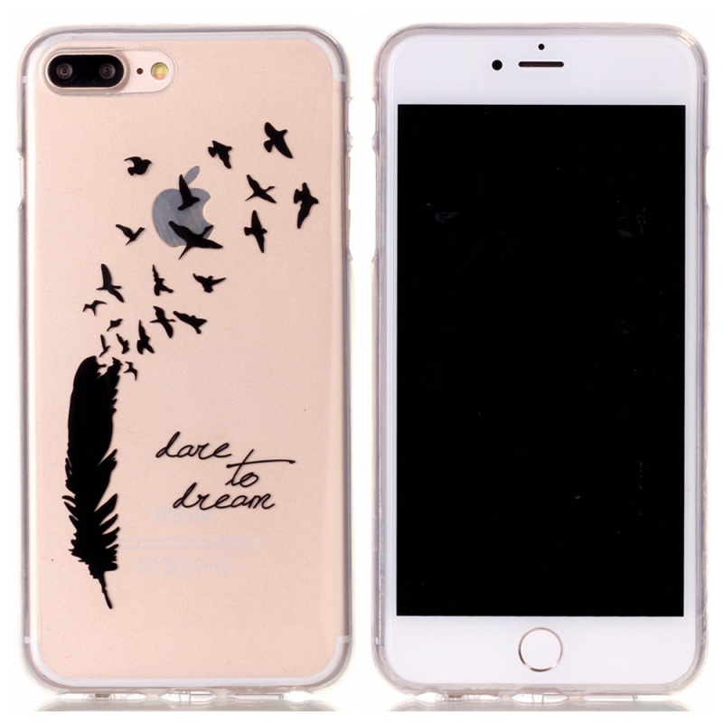For iPhone 7 Plus Clear TPU IMD Cover for iPhone 7 Plus 5.5 inch TPU Cases - Feather Birds and Quote <font><b>Dare</b></font> <font><b>to</b></font> <font><b>Dream</b></font>
