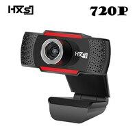 HXSJ USB HD 웹캠 720 마력 회전 PC 컴퓨터 카메라 비디오 통화 기록 잡음 제거 마이크 클립 스타일 PC