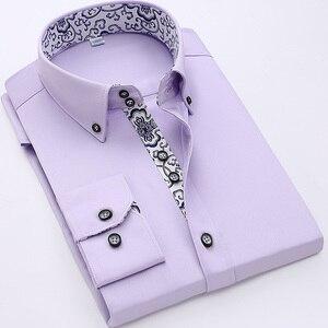 Image 5 - 2020 İlkbahar/sonbahar erkek Slim Fit uzun kollu elbise gömlek avrupa iş rahat sınır gömlek yüksek kalite düğün damatlar gömlek