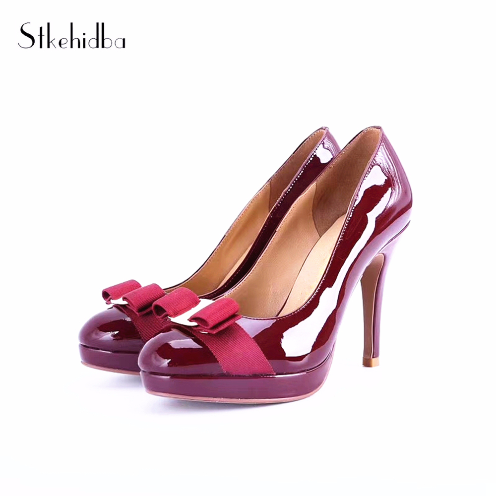 Stkehidba Cow Leather High Heels Pumps For Party Shoes Top Quality Women s Pumps Platform Round
