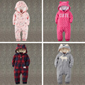 2017 Baby clothes winter warm pajamas bear climb clothes infants cute bebes clothing baby polar fleece jumpsuits thick with hood