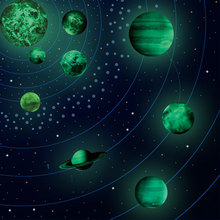 Fluorescent Solar System Moon Glow Nine Planet Sets Wall Stickers