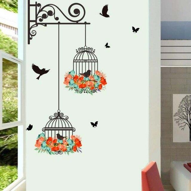 Muurstickers Kinderkamer Goedkoop.Muurstickers Birdcage Vogels Voor Kinderkamer Thuis Muur Decor