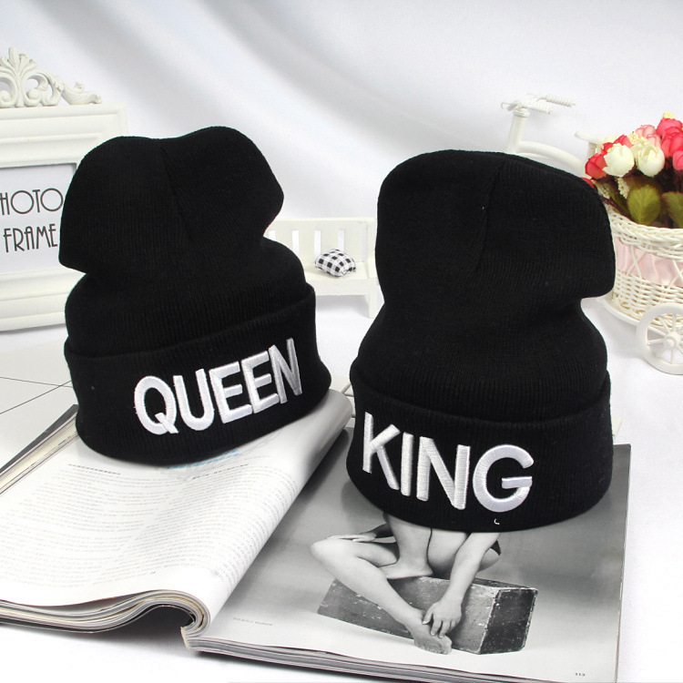HTB1uQH2XsTxK1Rjy0Fgq6yovpXas - Beanies Cap KING QUEEN Letter Embroidery Warm Winter Hat Knitted Cap Hip Hop Men Women Lovers Street Dance Bonnet Skullies Black