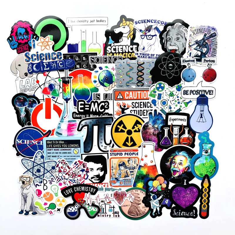 50PCS Science Chemistry Lab Astronaut Stickers Blockchain Code Brain Scientists Funny Stickers For Child Gift Decor Luggage
