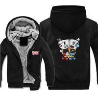 Hot Game Cuphead jacket cartoon Printed Hoodies Mens Zipper Sweatshirt Fleece Thicken Anime Fashion Jacket Coat