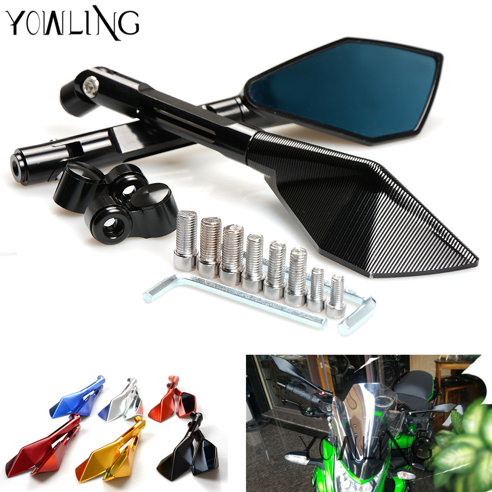 Motorbike Accessories rearview Side mirror Motorcycle mirror for Yamaha R3 R1 R6 R125 R15 R25 FZ8 FJR XJR 1300 SV 1000 S B-KING motorbike mirrors motorcycle accessories side mirror cnc aluminum mirror rearview for benelli 600 bn600 bn300 bmw k1300 k120